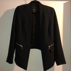 Trouve Zipper Front Pocket Crop Blazer